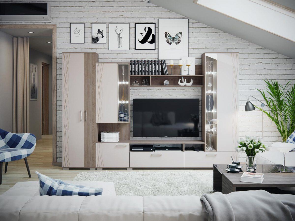 модульная гостиная светлая шкаф в гостиную