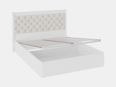 Кровать с мягким изголовьем и подъемным механизмом, кровать белая
