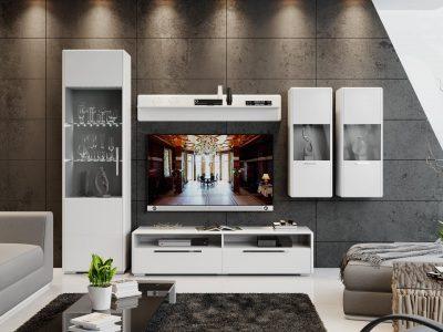 модульная гостиная белая, гостиная в современном стиле