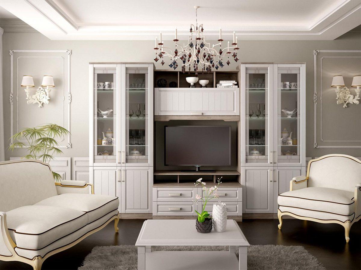 Гостиная в стиле прованс, светлая гостиная