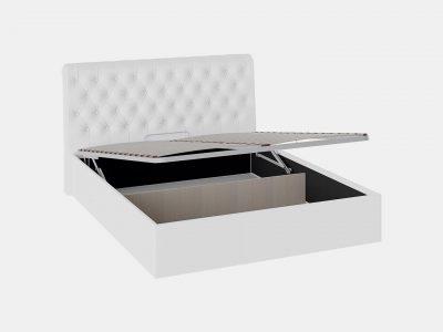 Кровать с мягким изголовьем, кровать с подъемным механизмом (Белая)