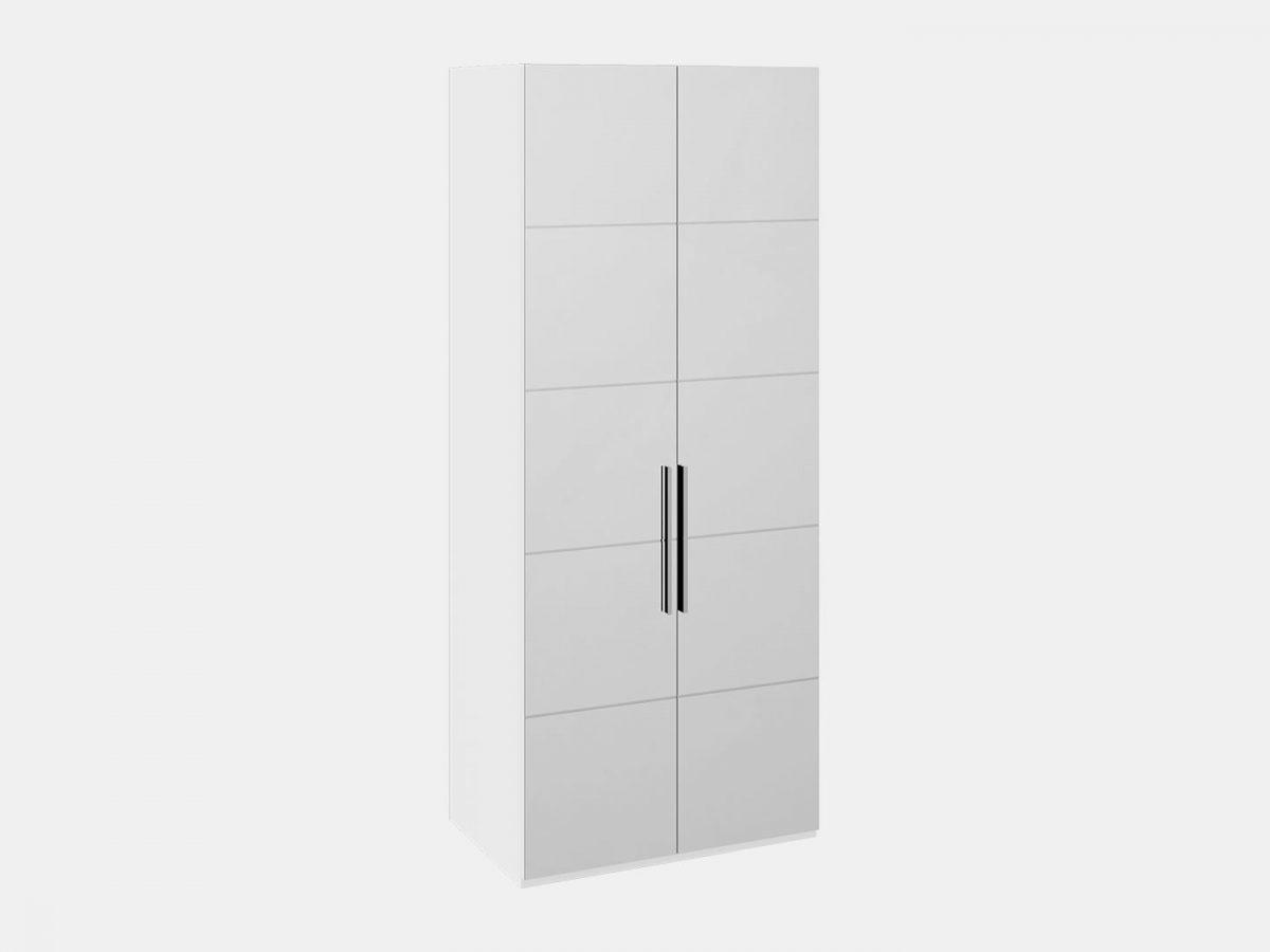 Шкаф с 2-мя зеркальными дверями «Наоми» (Белый глянец)