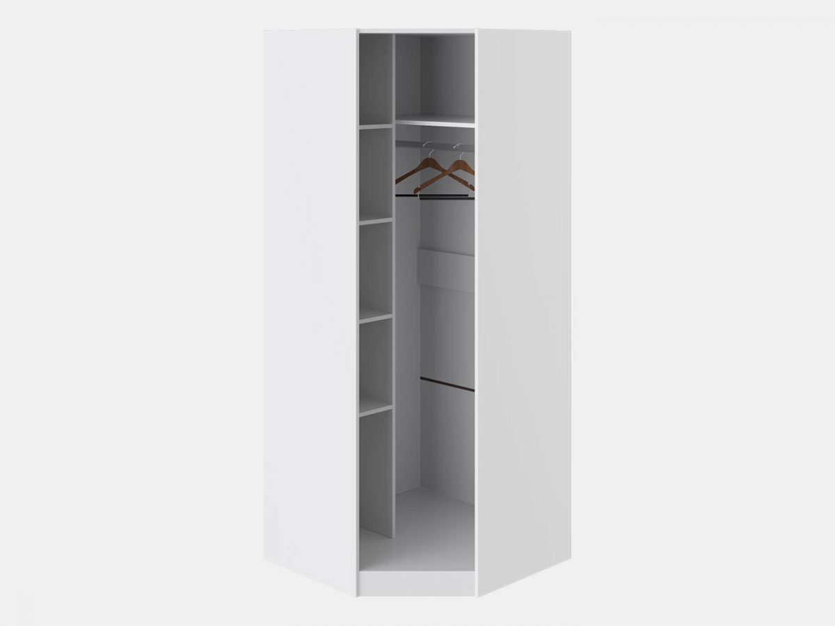 Шкаф угловой с 1-й дверью «Наоми» (Белый глянец)